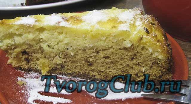 Рецепт открытого пирога с начинкой из творога, кокосовой стружки и ананаса