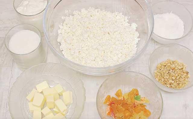 Продукты для сырой творожной пасхи